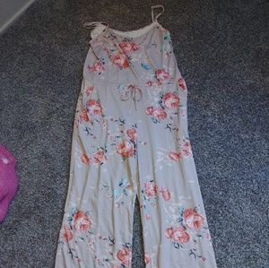 Stretchy floral romper with tie waist